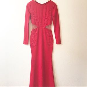 Windsor Red Embroidered Long Gown Dress medium